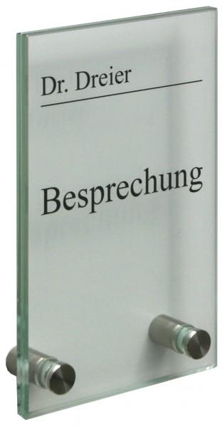Glas-Türschild KRISTALLUM-R 100 x 170 mm (BxH)
