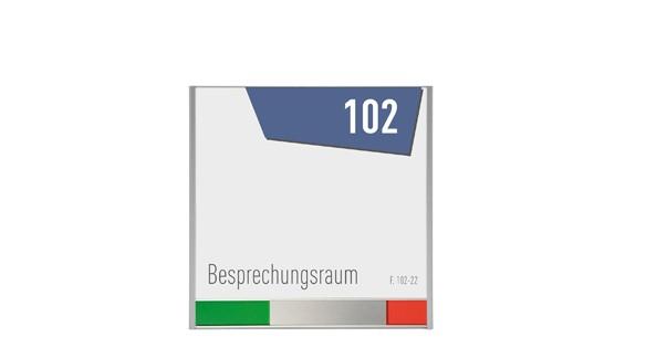 Türschild ALU.b1 Frei-Besetzt-Anzeige 151,5 x 150,5 mm