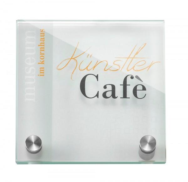 Glas-Türschild GALERIE 125 x 125 mm