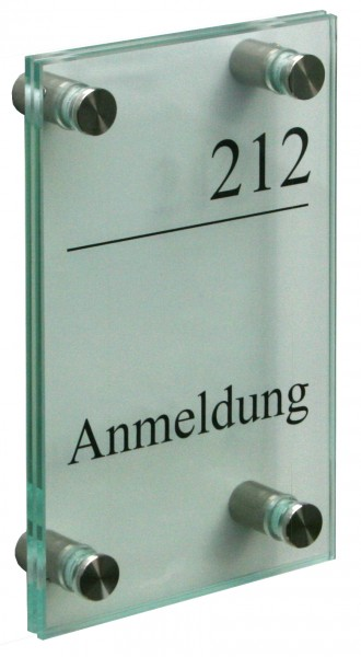 Glas-Türschild KRISTALLUM-R 120 x 180 mm (hoch oder quer)