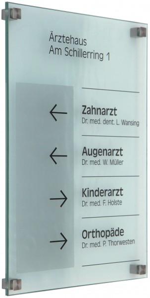 Glas-Türschild INOFIX-Q 210 x 297 mm A4 (hoch oder quer)