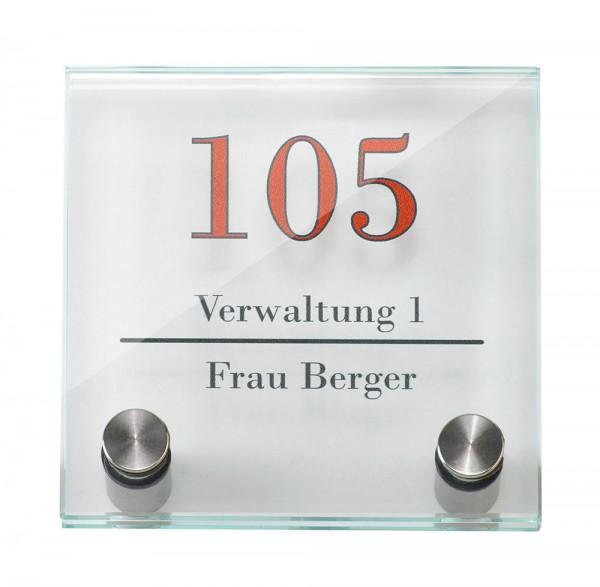 Glas-Türschild GALERIE 100 x 100 mm